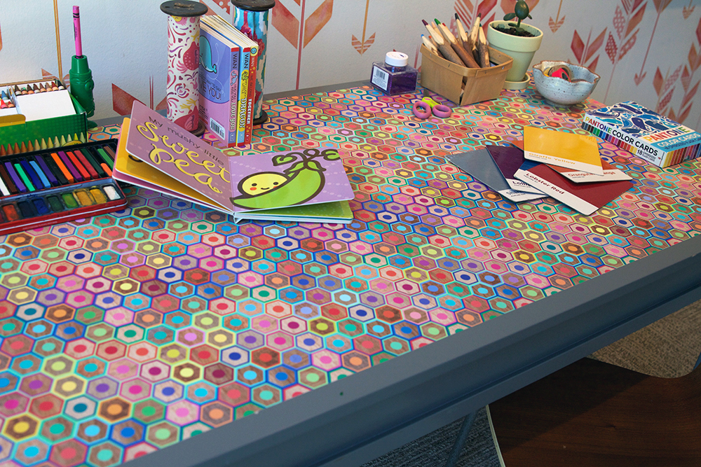"Colorful peel & stick wallpaper featuring ""Colored Pencils"" design by Rubydoor"