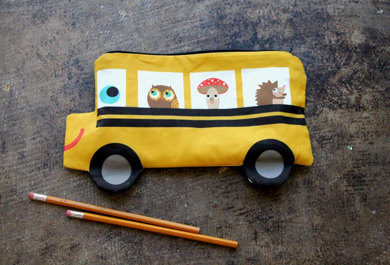 Get ready to learn with this yellow school bus pencil pouch