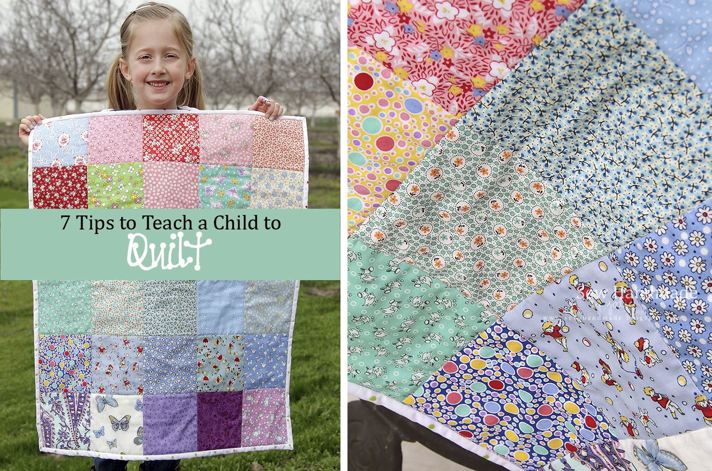 Child's first quilt and detail of quilt squares