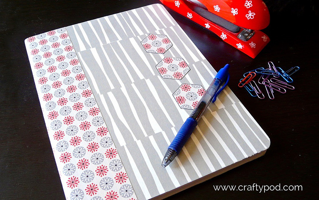 Cover a composition notebook with Spoonflower wallpaper