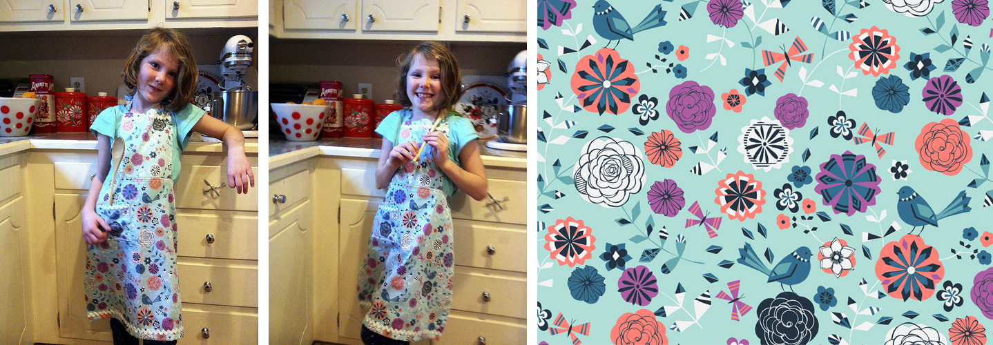 Kids' Summer Floral Custom Cooking Apron