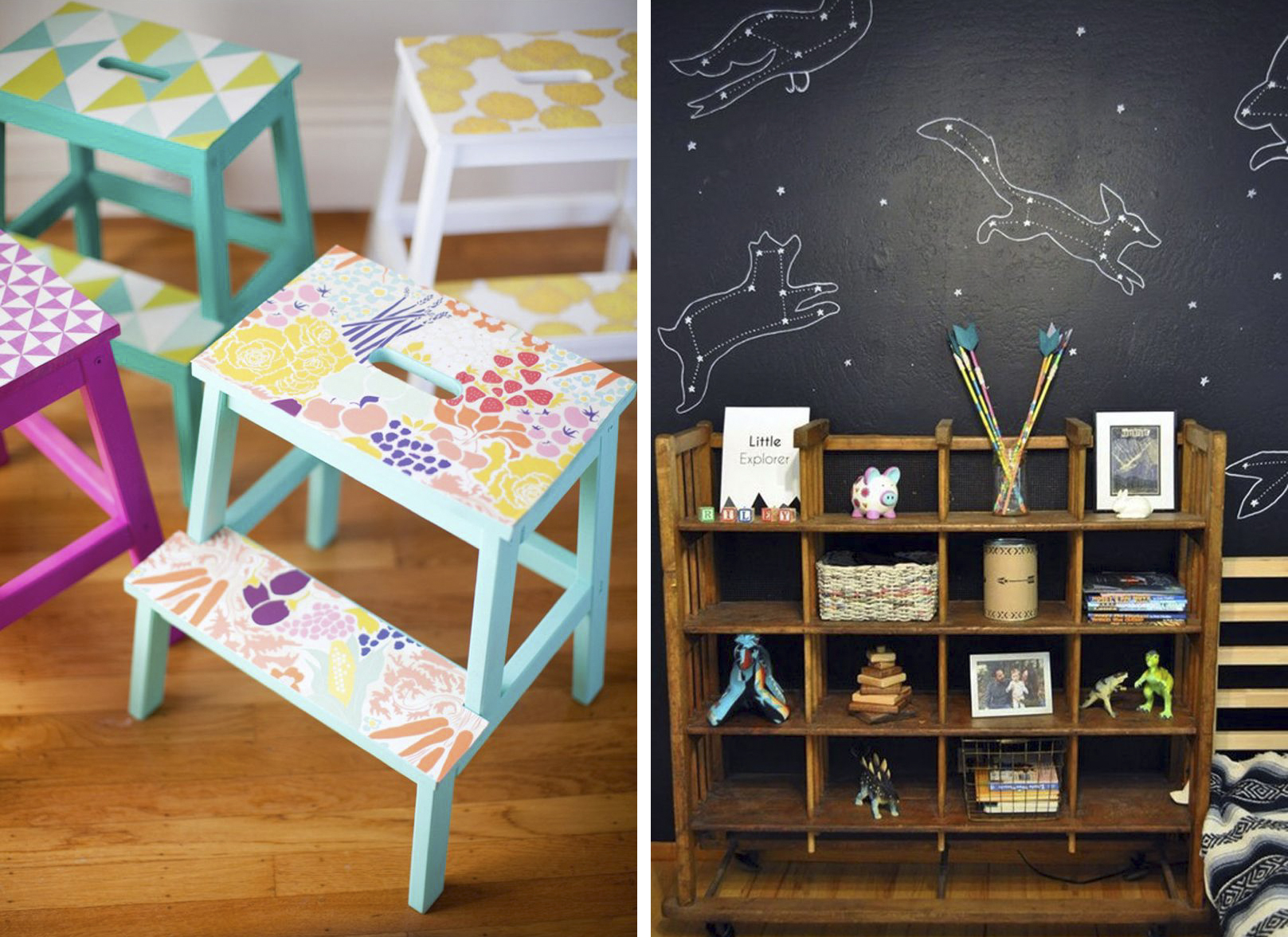 Kids Custom Step Stools and Constellation Wall