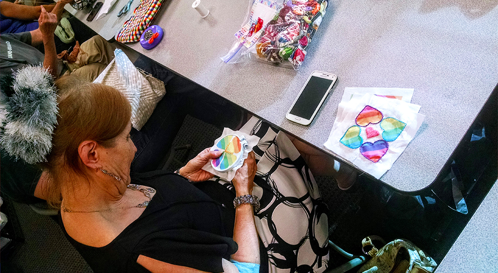Pins & Needles regular, Adele, works on finishing her #Quiltsforpulse quilt square.