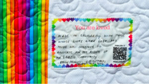 Custom quilt labels were donated by the StoryPatches team