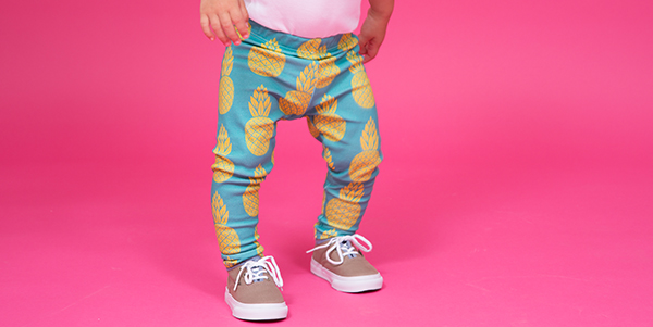 Kid with blue and yellow leggings