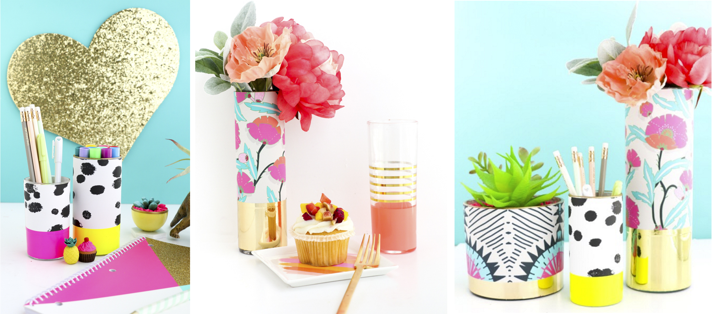 Vibrant, Wrapped Pattern Vases