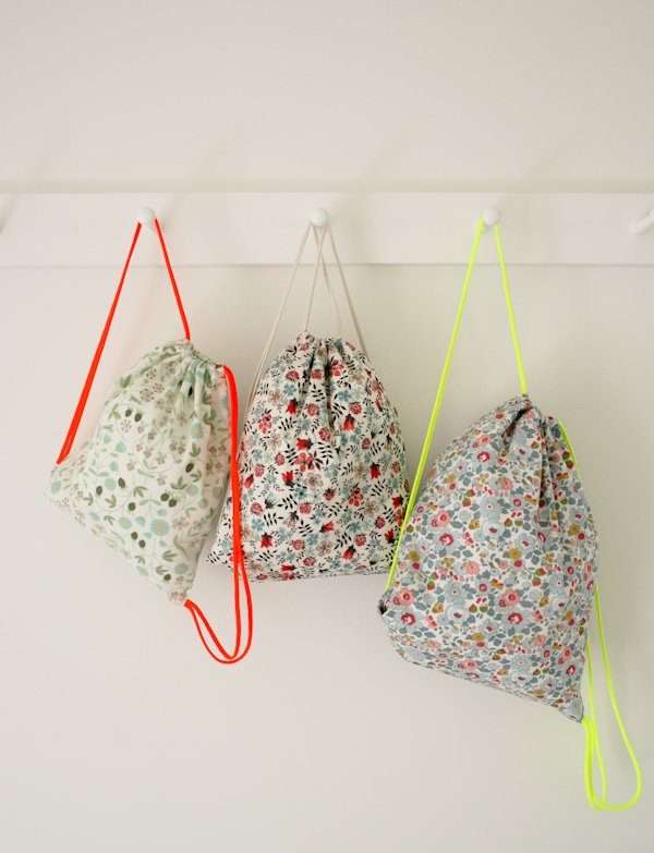 Purl Soho drawstring backpacks