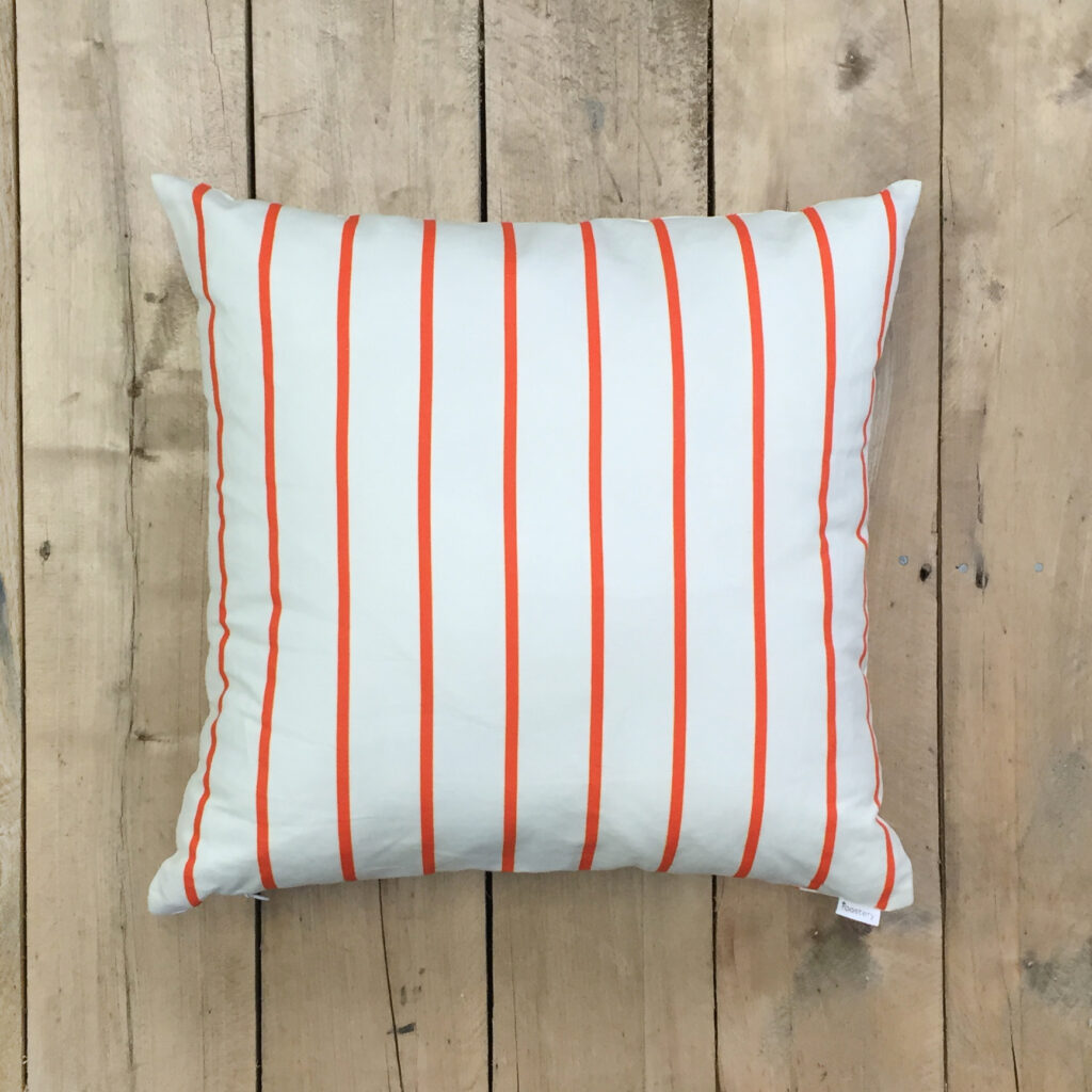 "Catalan square throw pillow with insert featuring ""D1 Marquise Orange and Cosmic Latte Stripe"" by PeacoquetteDesigns"