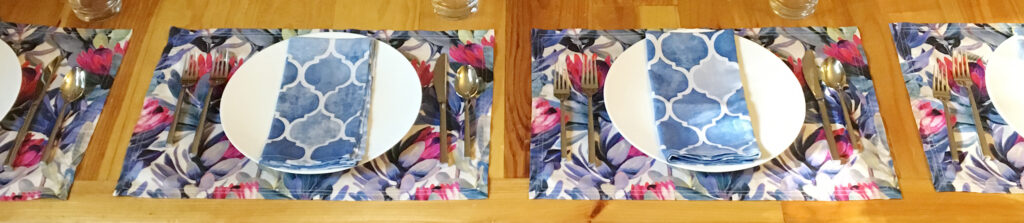 Lamona cloth placements paired with Amarela-cloth dinner napkins