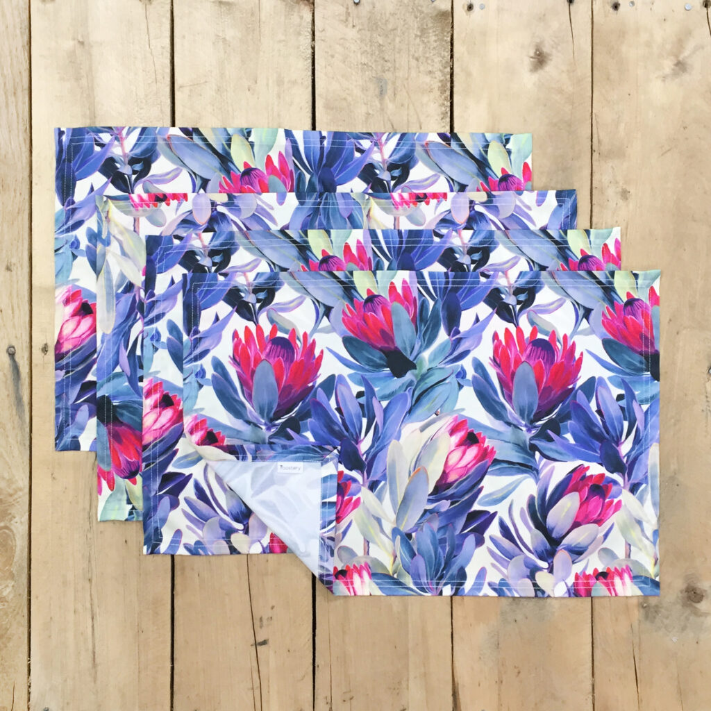 """Painted Protea Floral"" by Micklyn on Lamona-cloth placements (set of 4)"