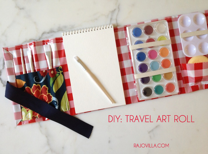 Kid's Red Gingham Travel Art Roll