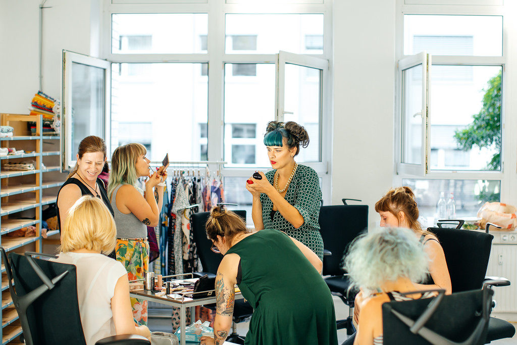 models prepping before the runway show at the Spoonflower Berlin factory