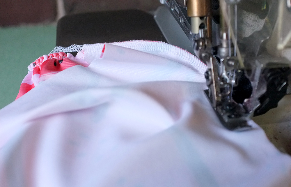 Serging under bust seam