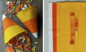 Easy to sew felt candy corn trick or treat bag