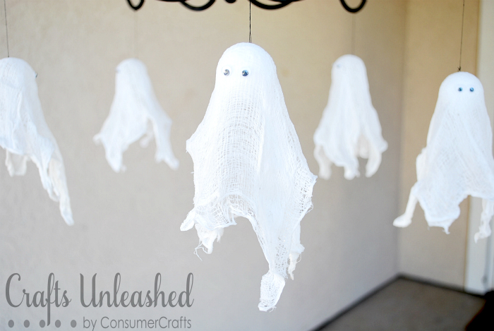 Hanging Ghosts with googly eyes