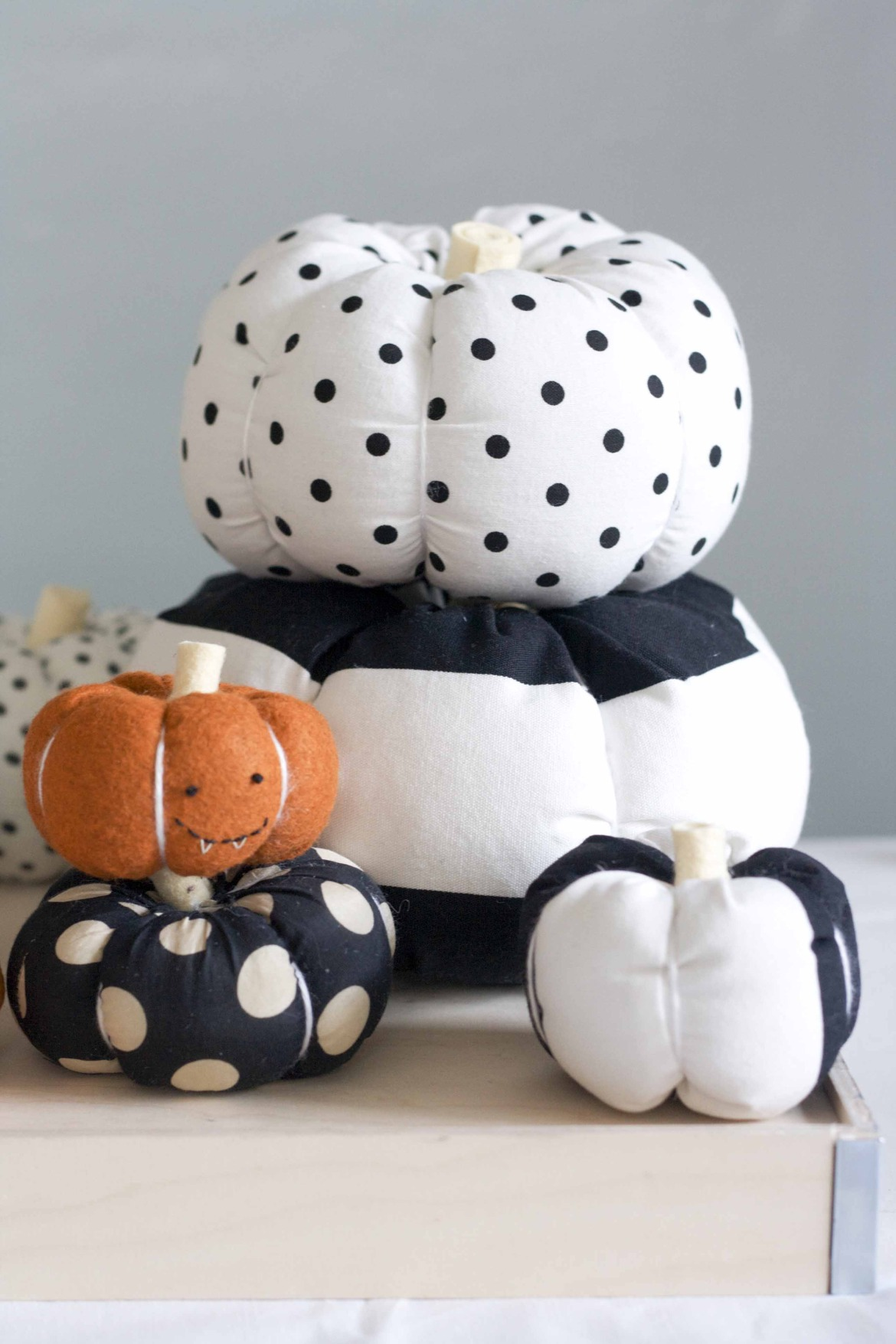 Stuffed fabric pumpkins