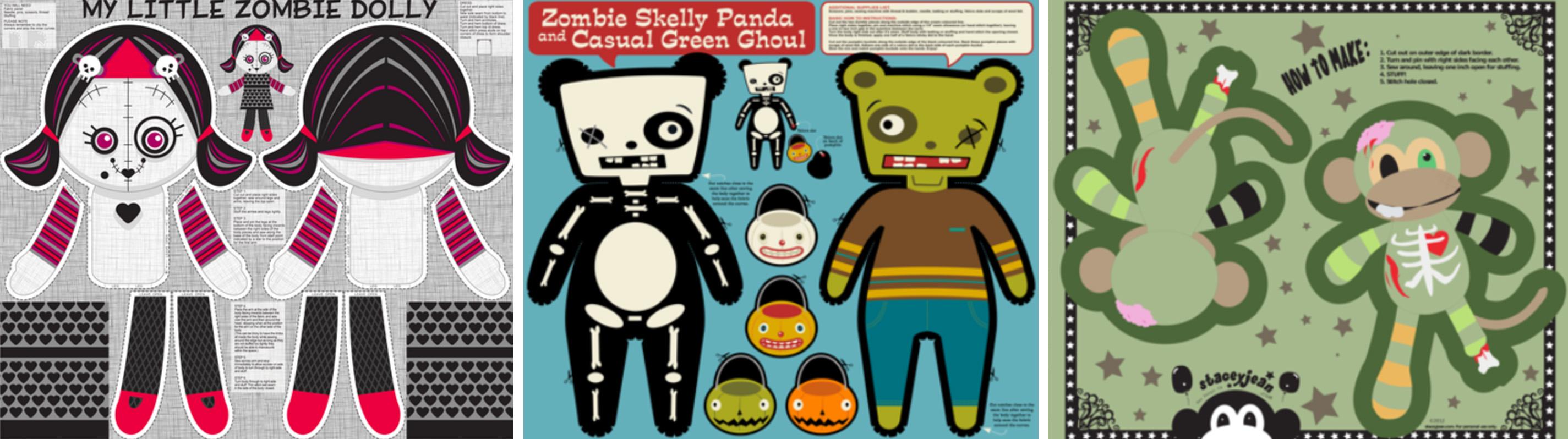Zombie girl, zombie panda, and zombie monkey