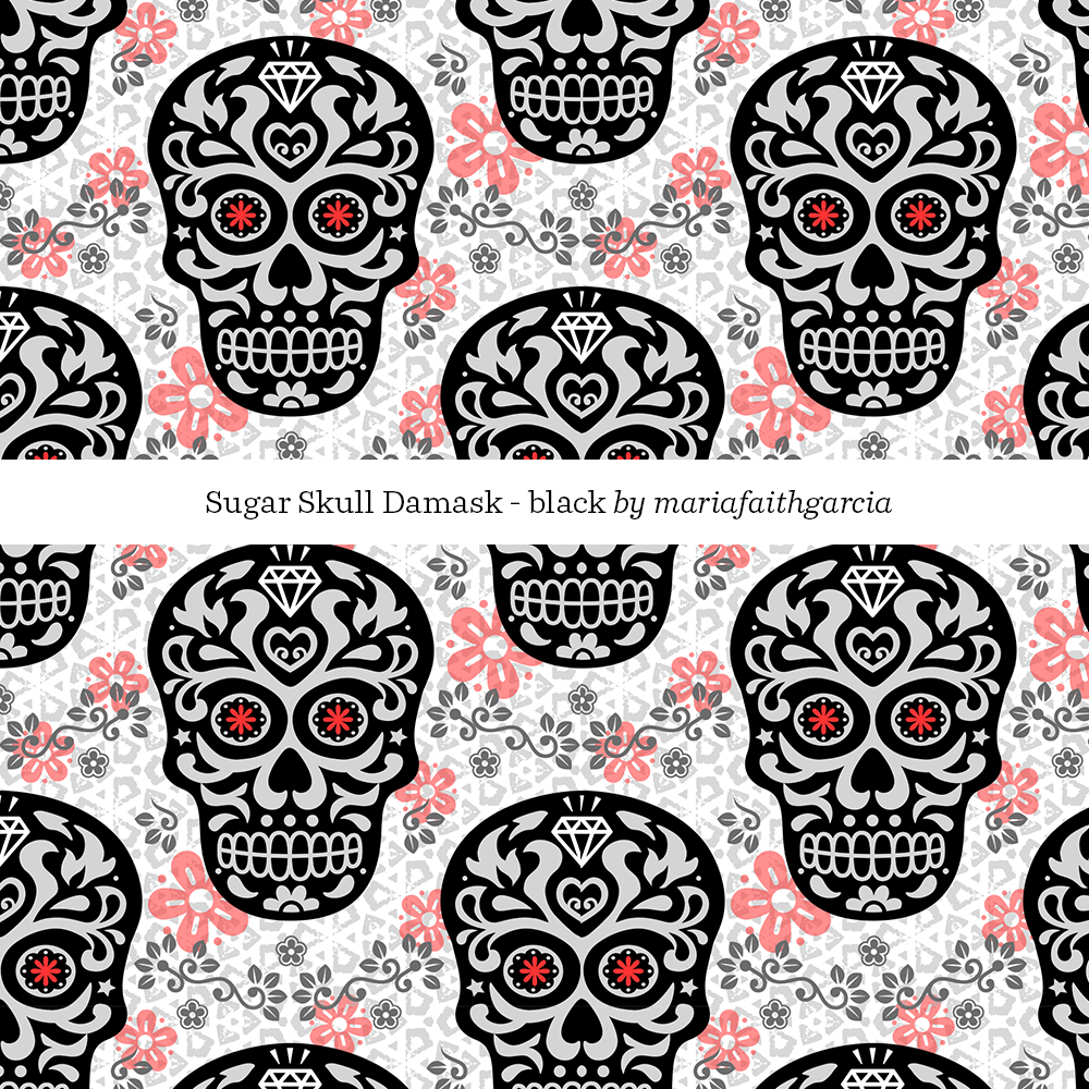 Sugarskull damask by mariafaithgarcia