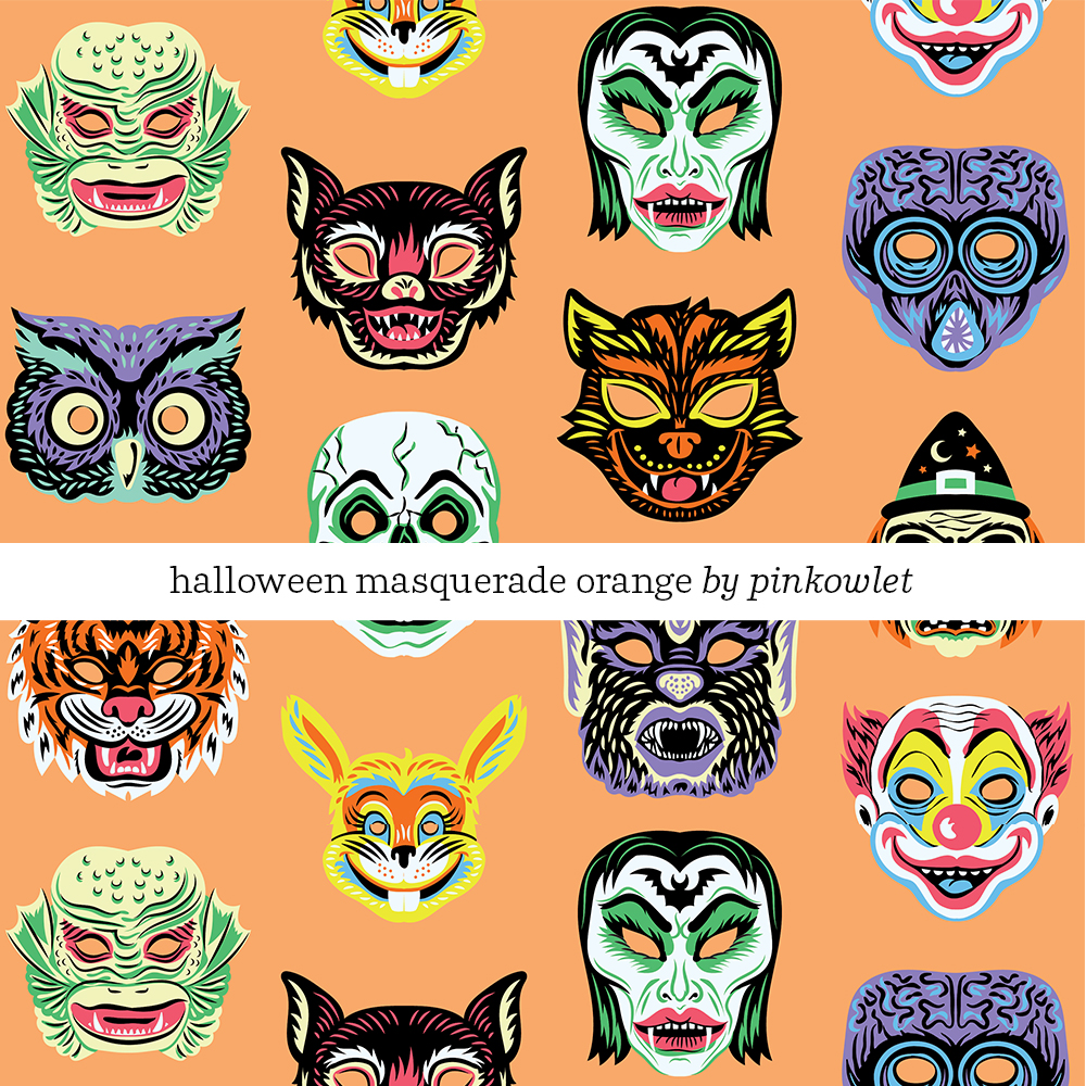 Halloween Masquerade Orange by by pinkowlet