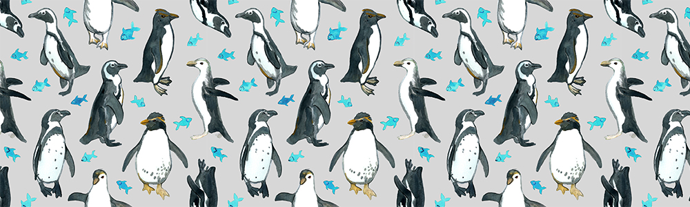 Watercolor Penguins with little Blue Fish on Grey by Micklyn