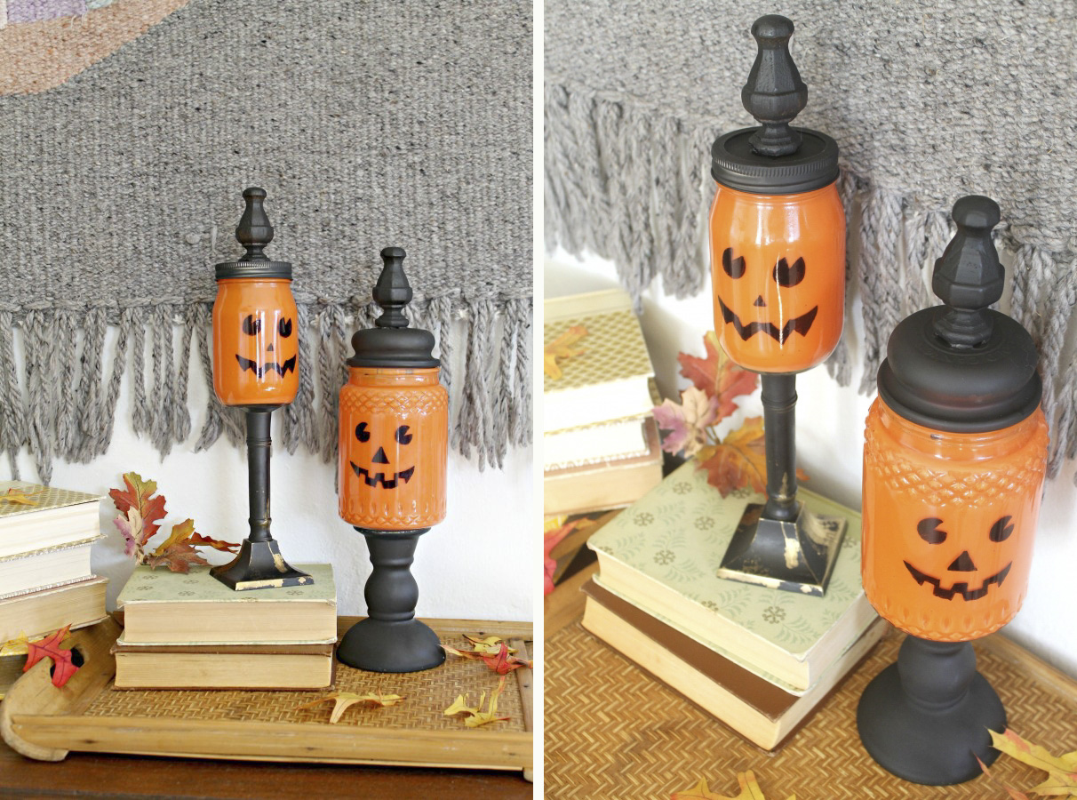Mason pumpkin jars for your candy