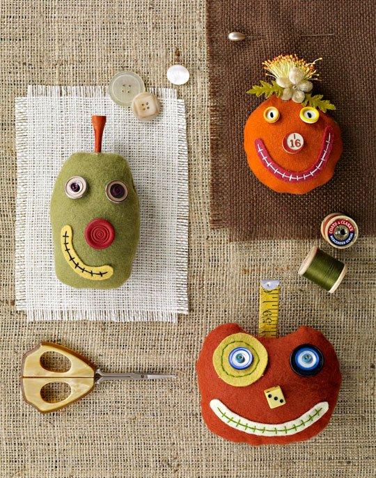 Felt Pumpkin Pincushions with Faces