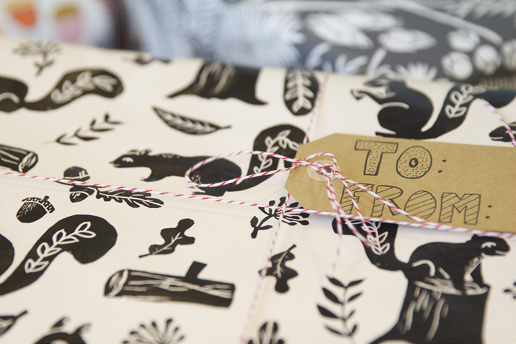 Woodland Squirrel gift wrap
