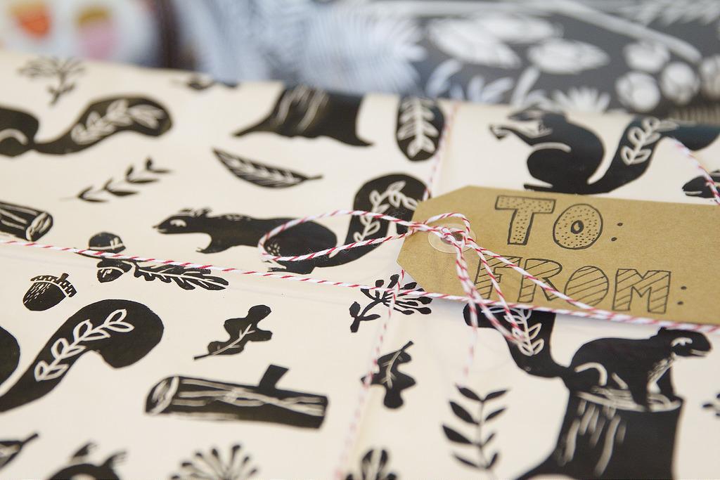 Woodland Squirrel gift wrap