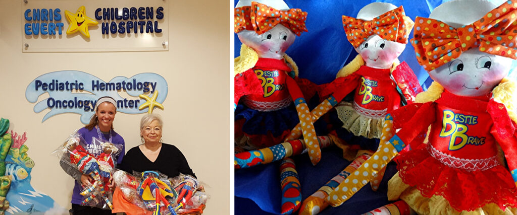 Rosanna Bernstein donating Bee Brave Buddies dolls to a children's hospital