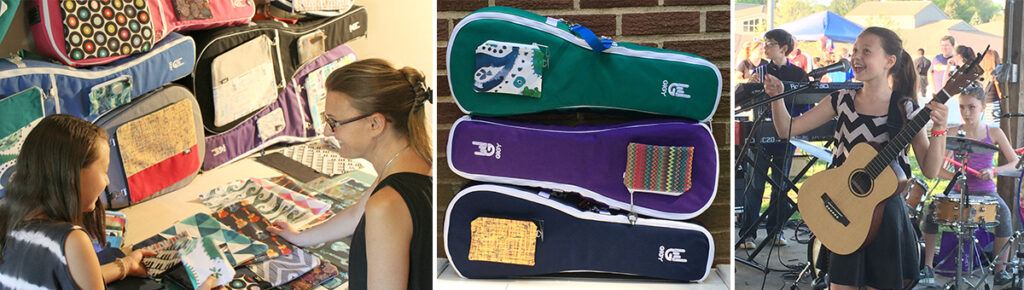 Jen and her daughter Madeleine looking at Spoonflower textiles | Stack of Mandolin cases | Madeleine singing on stage