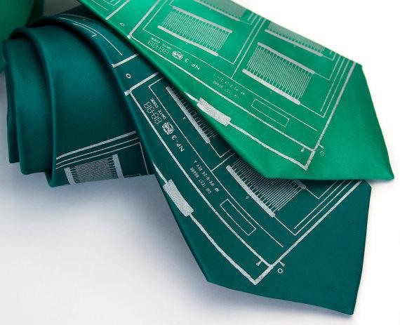 circuit board silk men's necktie