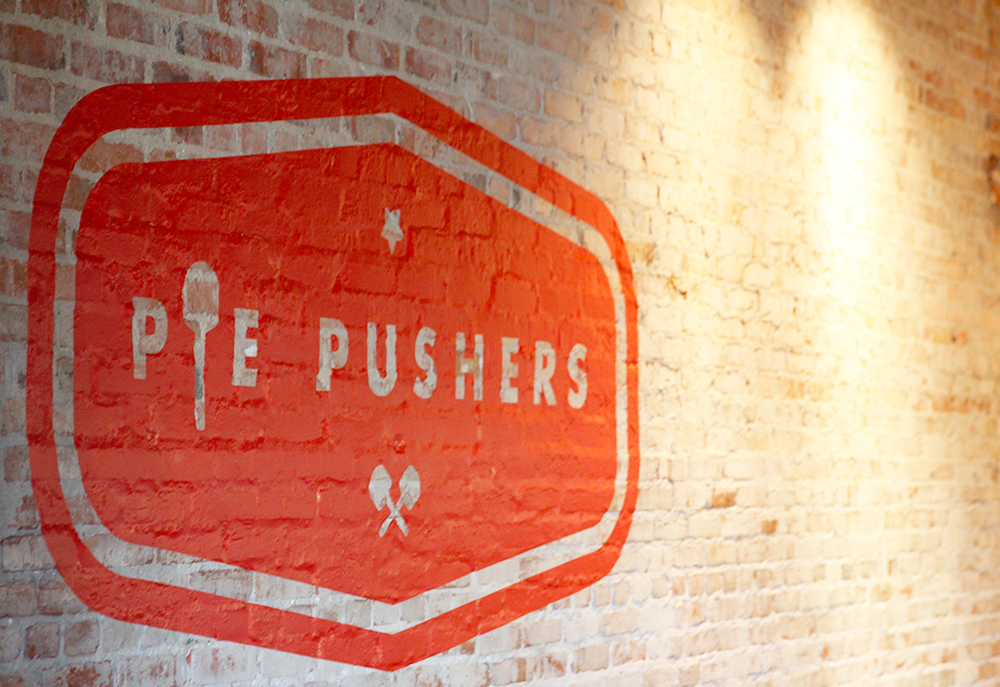 The Pie Pushers' logo inspired the all-over wallpaper repeat
