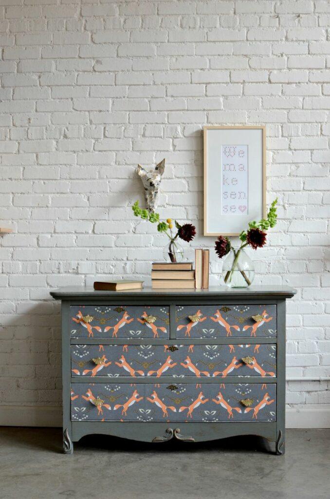 Refurbish a dresser with wallpaper | Spoonflower Blog