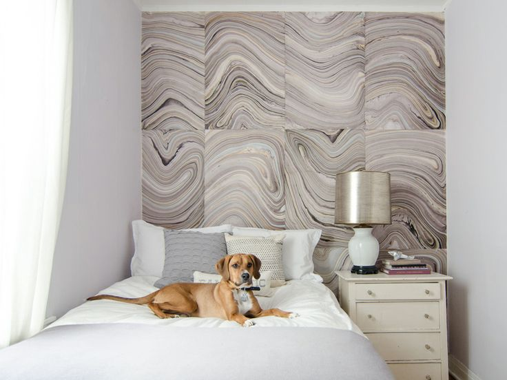 Marbelized designs make perfect wallpaper for an accent wall in your bedroom.