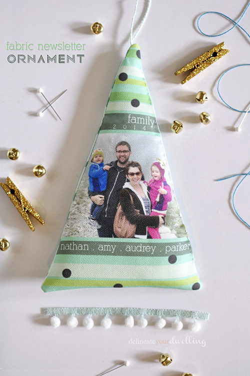 Fabric newsletter ornament