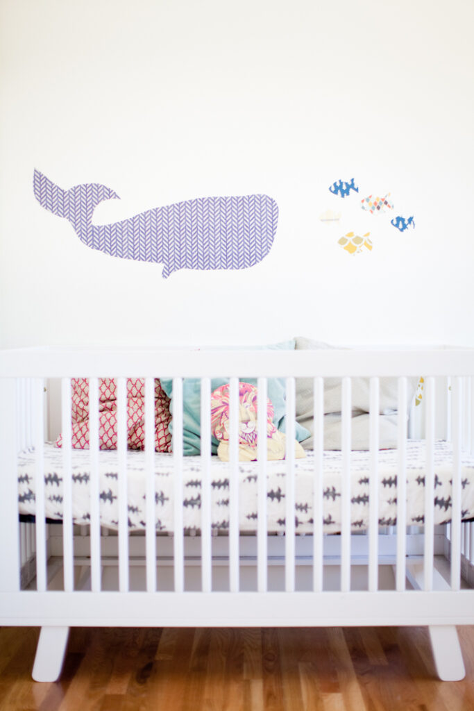 DIY wall stickers, whale and fish in child's nursery