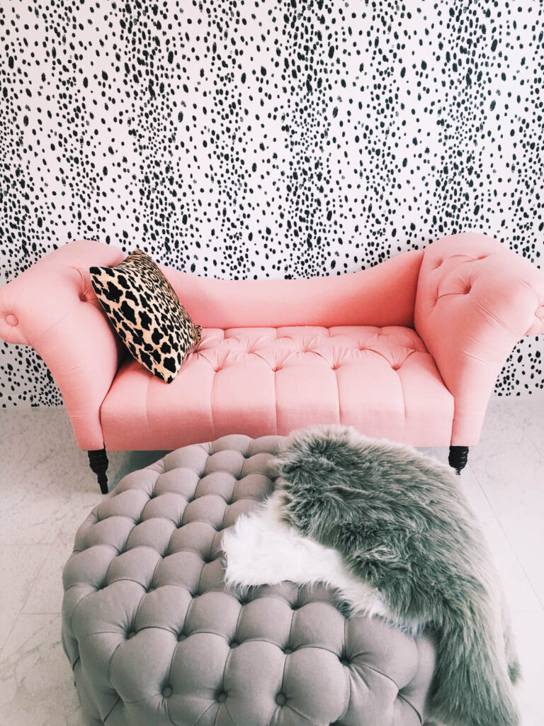 Fashion Blogger Jessi of The Darling Detail used Charcoal Dots by Domesticate to update her office / studio space
