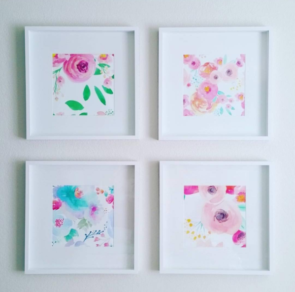 @jesselaine21 used wallpaper in various designs by IndyBloomDesign to create these custom, affordable art prints for her home.