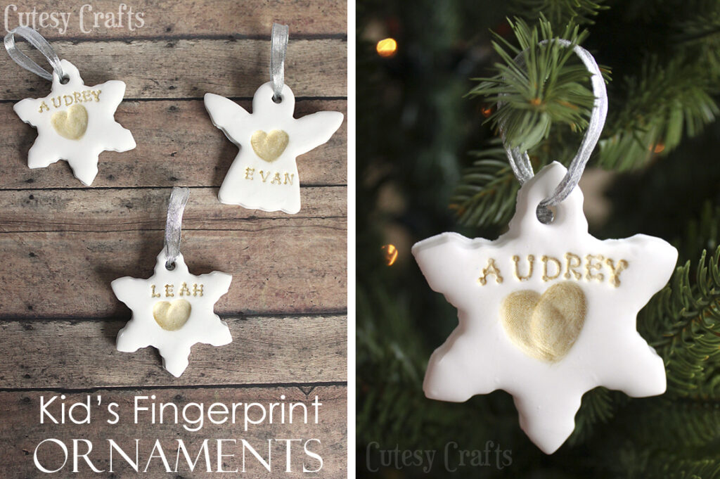 make these adorable keepsakesmade with polymer clay and gold paintfor the whole family handpainted fimo clay holiday ornaments