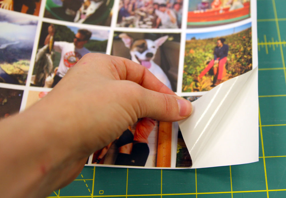 Peel the paper backing off the woven wallpaper swatch