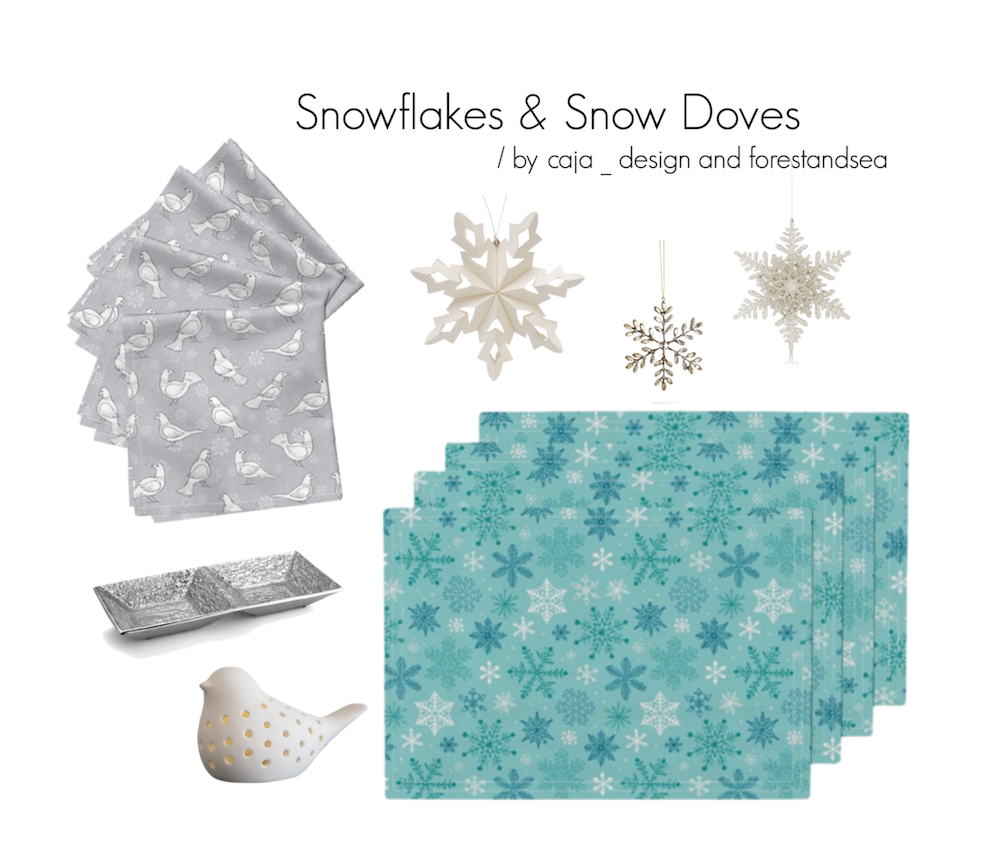 Roostery Home Decor Snowflakes and Snow doves napkins and tea towels
