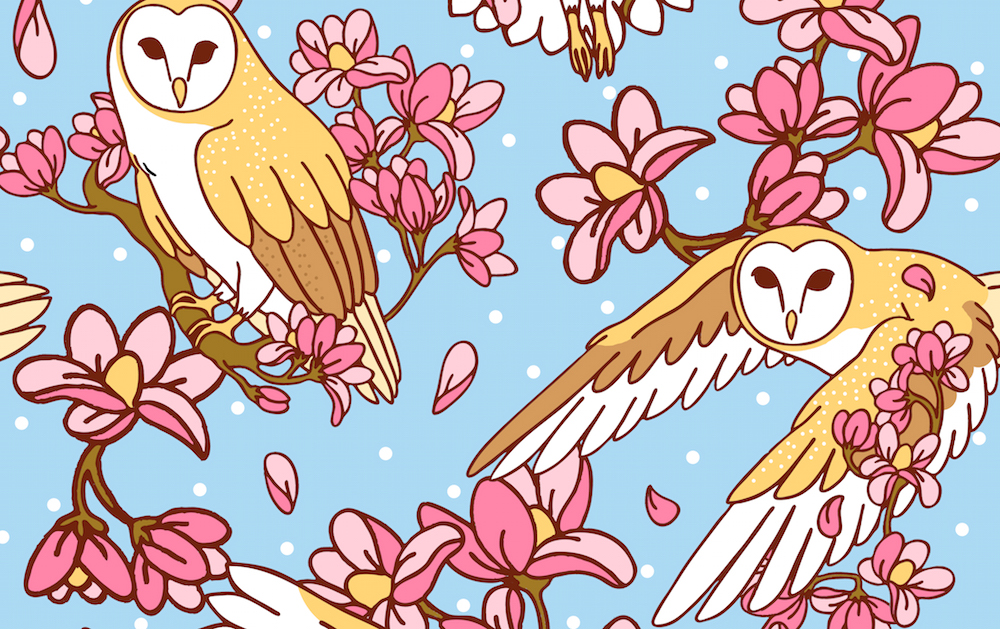 Barn Owls and Magnolias by Natelledrawsstuff