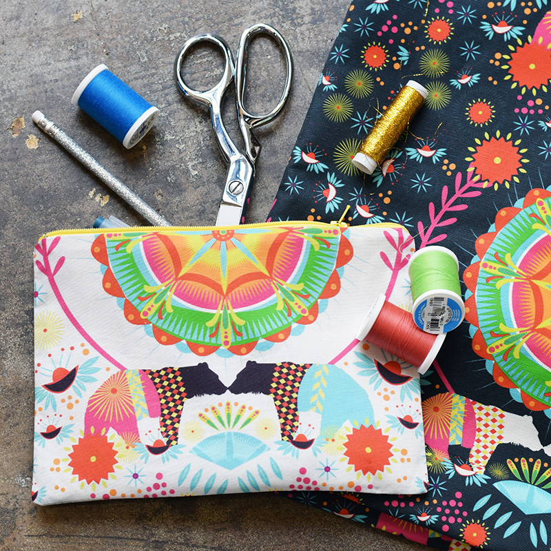 Sprout Patterns Lined Zipper Pouch