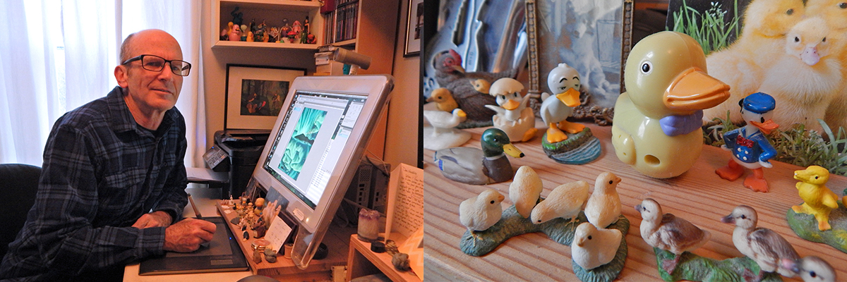 Vince's studio and his collection of duck figurines