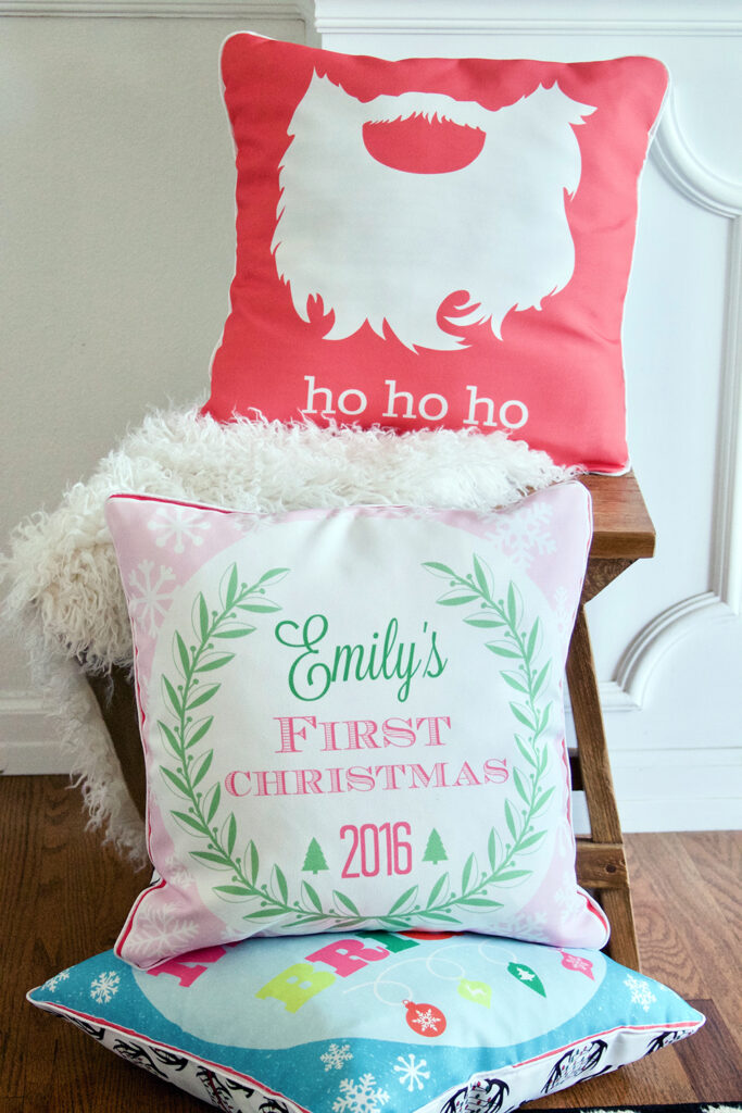 3 stacked Christmas cushions