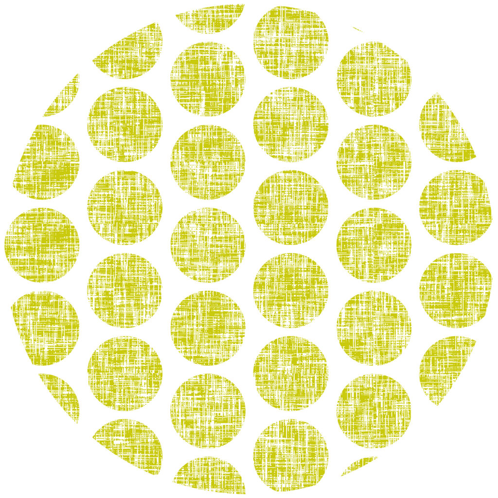 Acid yellow tweedy linen weave polka dots on white by Su_G
