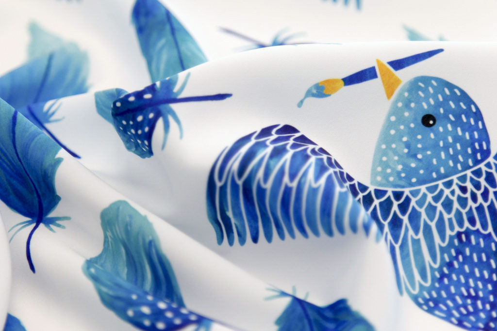 Birds Painting Their Feathers blue printed on Silky Faille fabric