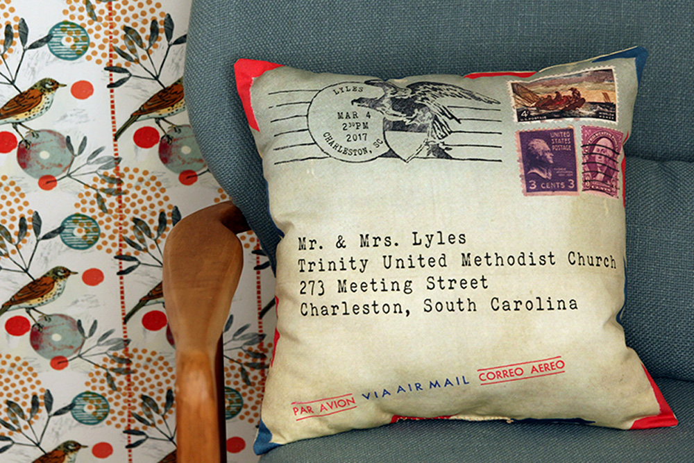 vintage airmail wedding pillow printed with Spoonflower fabric