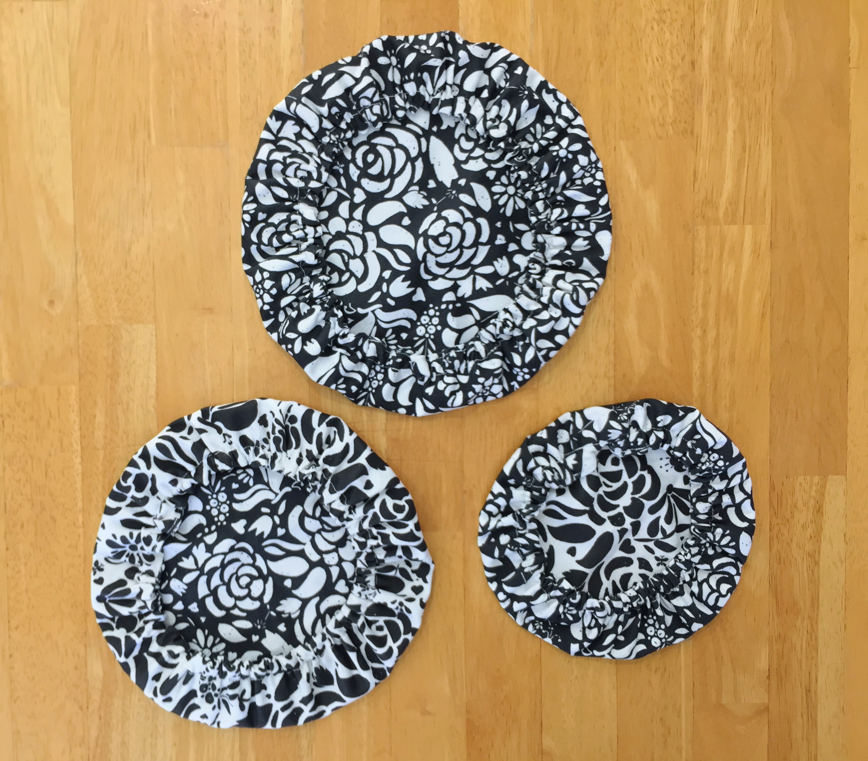 Three finished bowl covers different sizes