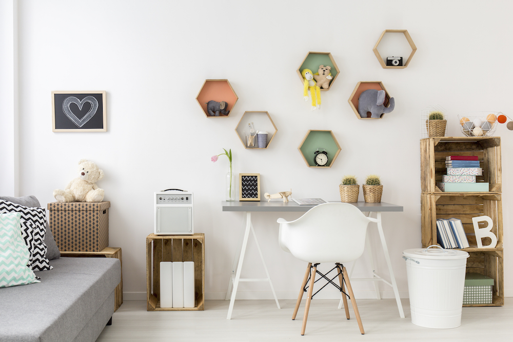 hexagon shelving in a white room
